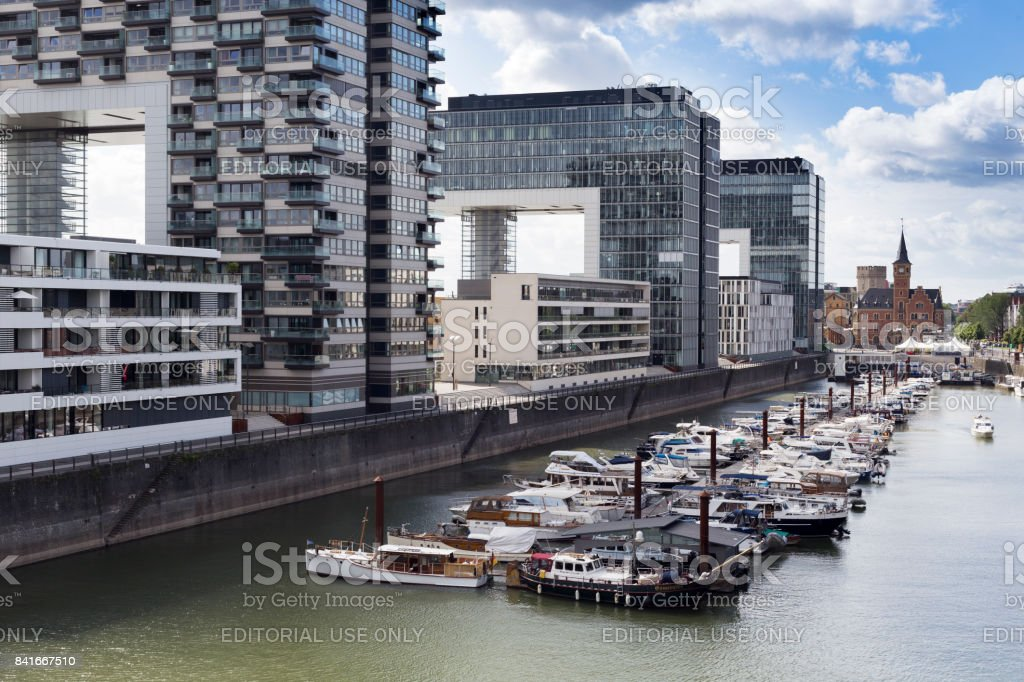 Kranhaus buildings and Rhine marina with boats stock photo