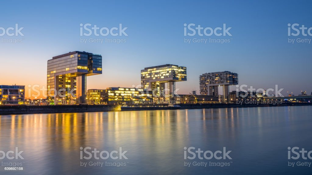 Kranhäuser in Köln am Rhein stock photo