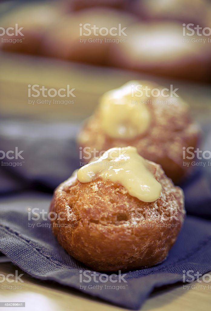 krapfen doghnut with vanilla stock photo