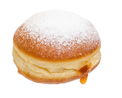 sweet food / bakery for easter: Krapfen isolated on white background