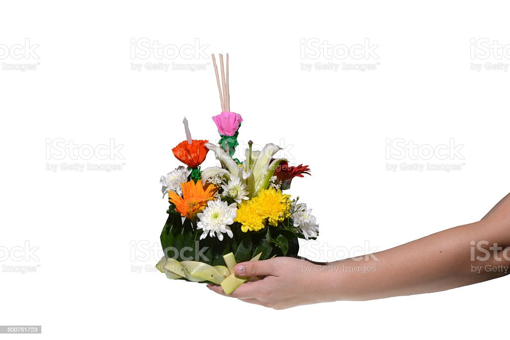 Krathong is made with banana leaves and flowers for floating stock photo