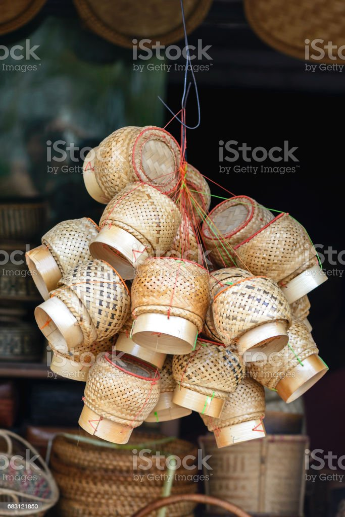 Kratip, bamboo basket for lunch box in Thailand. stock photo