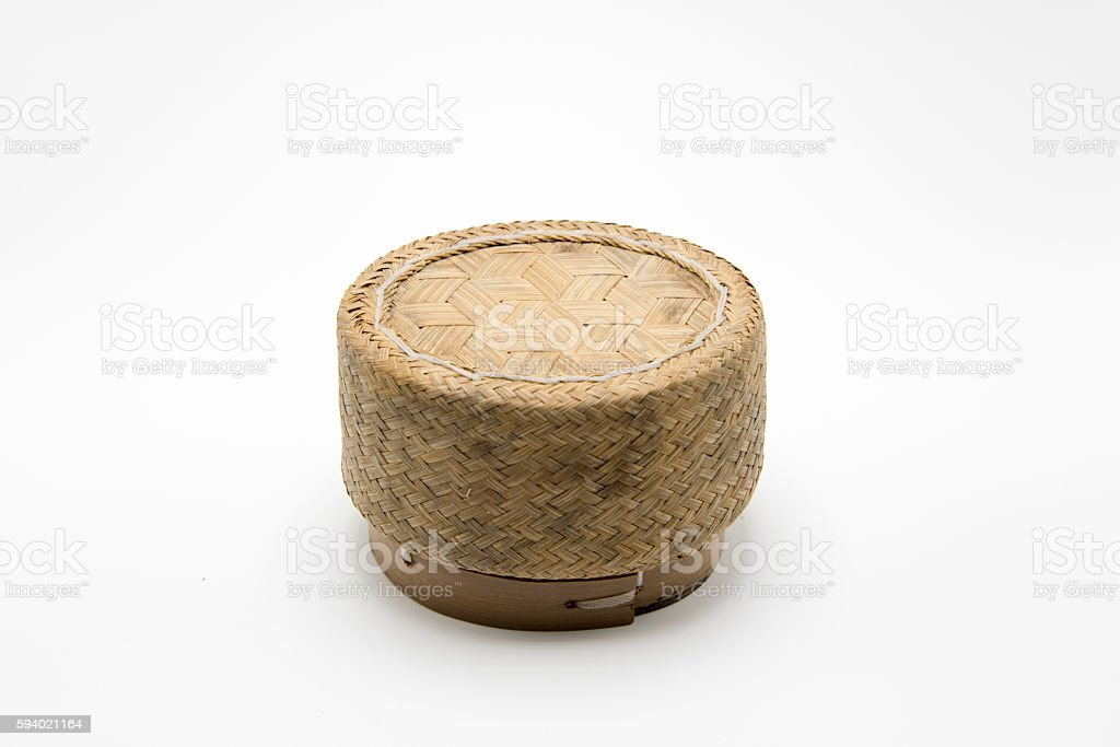 Kratip or Wicker , bamboo container for holding cooked glutinous stock photo