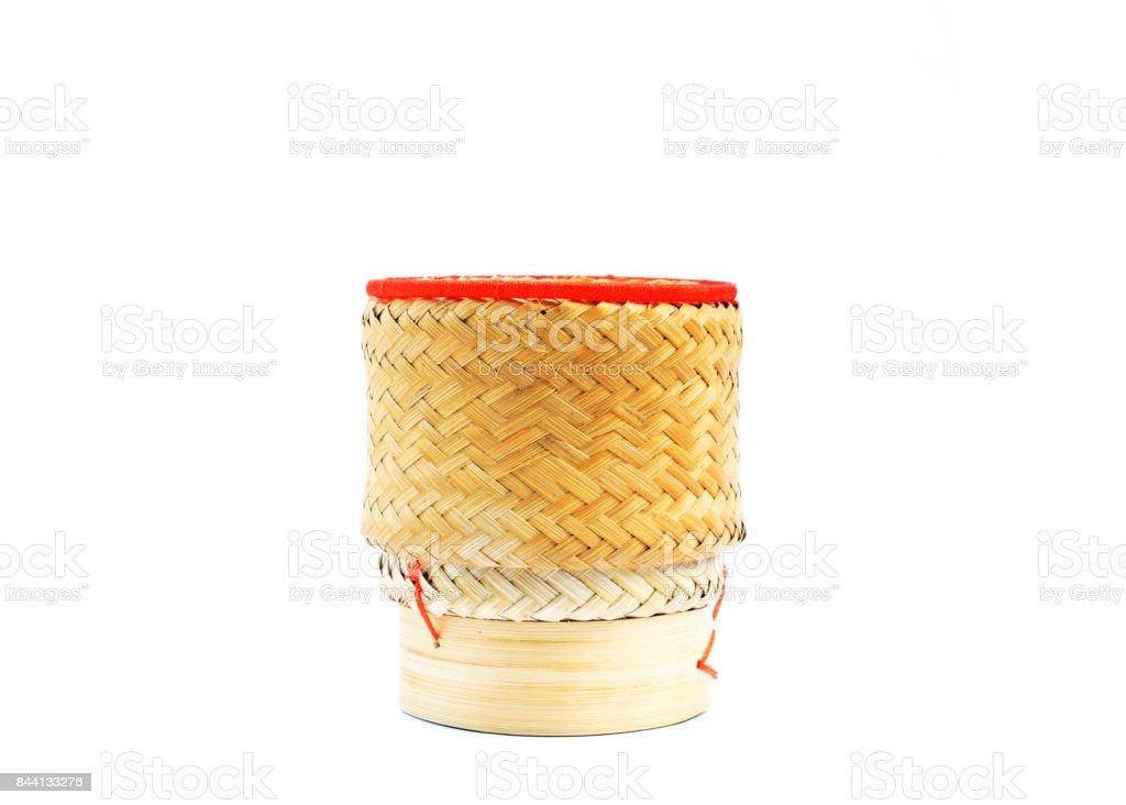 Kratip rice - Bamboo basket of Thai homemade for keep sticky rice stock photo
