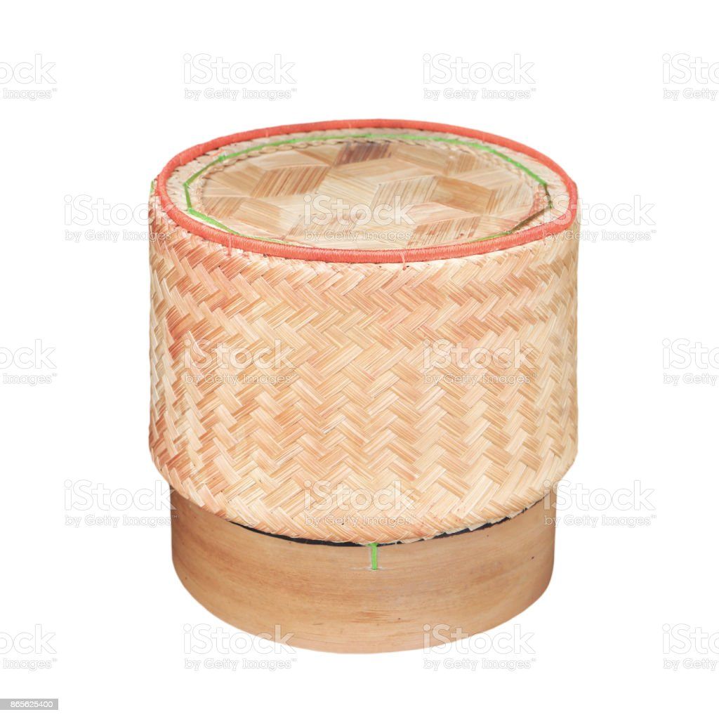 KRATIP,thai laos bamboo sticky rice container stock photo