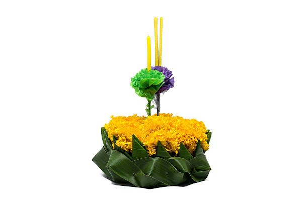 kratong for loy kratong festival. thailand festival - kratong stock photos and pictures