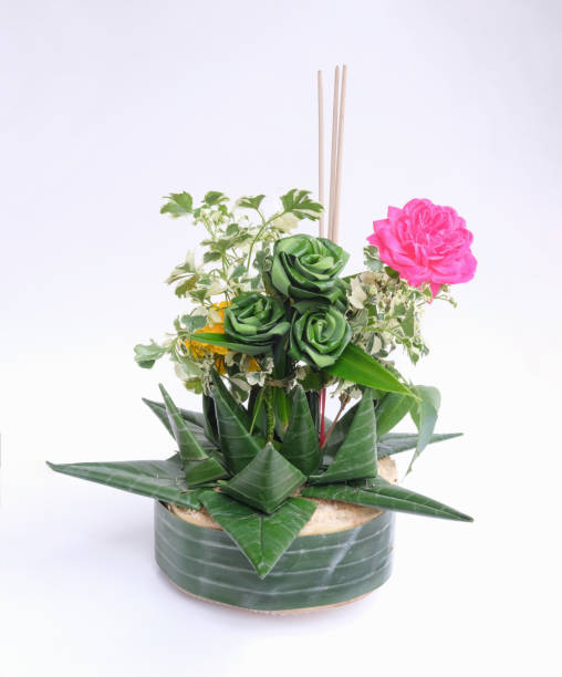 kratong object made by banana leaf and ornamental plants on loy kratong day in thailand. isolated - kratong stock photos and pictures