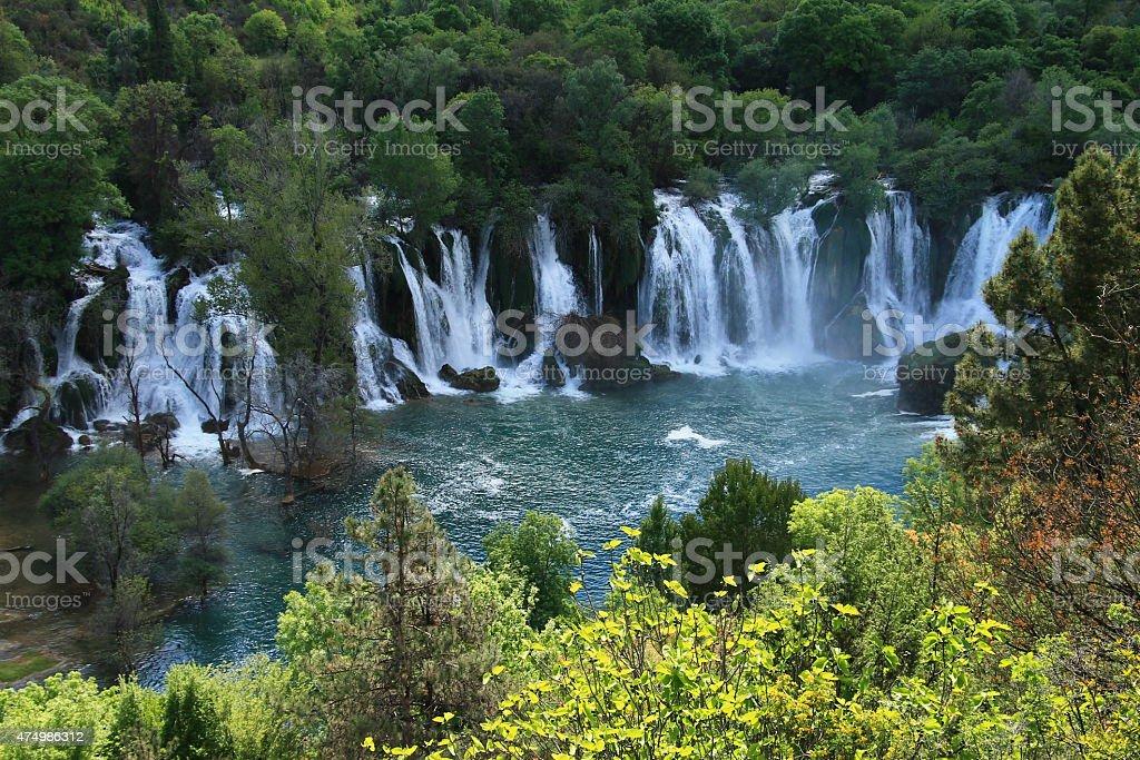 Kravice waterfalls and Trebizat river in Bosnia and Herzegovina stock photo