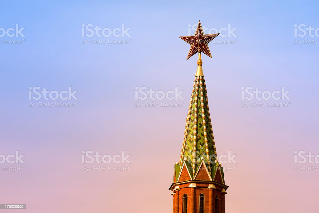 Kremlin star at sunrise, Moscow, Russia stock photo