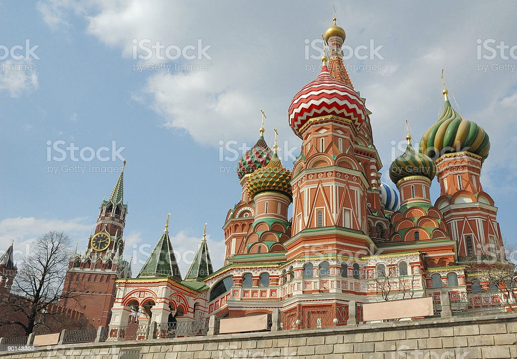 Kremlin tower with St. Basil's Cathedral royalty-free stock photo