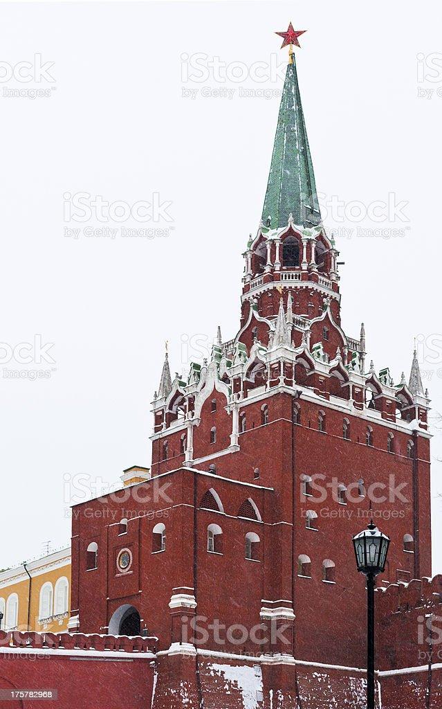 Kremlin Troitskaya Tower in winter snowing day royalty-free stock photo