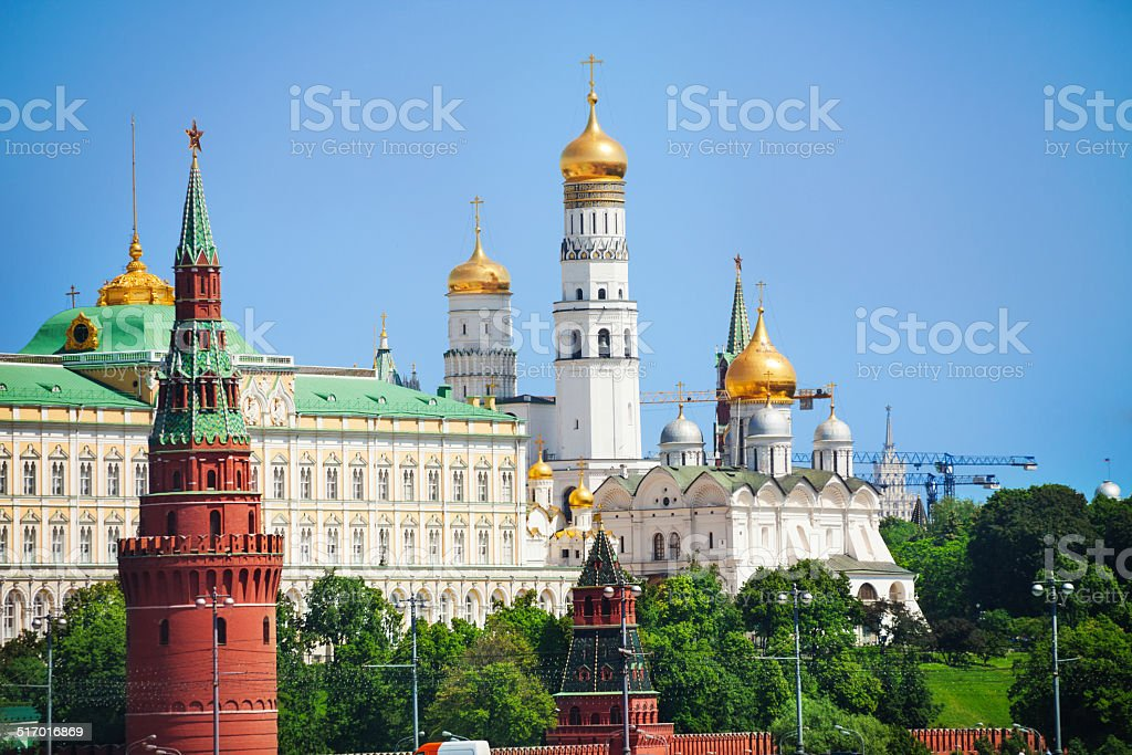 Kremlin view with Cathedral of the Annunciation stock photo