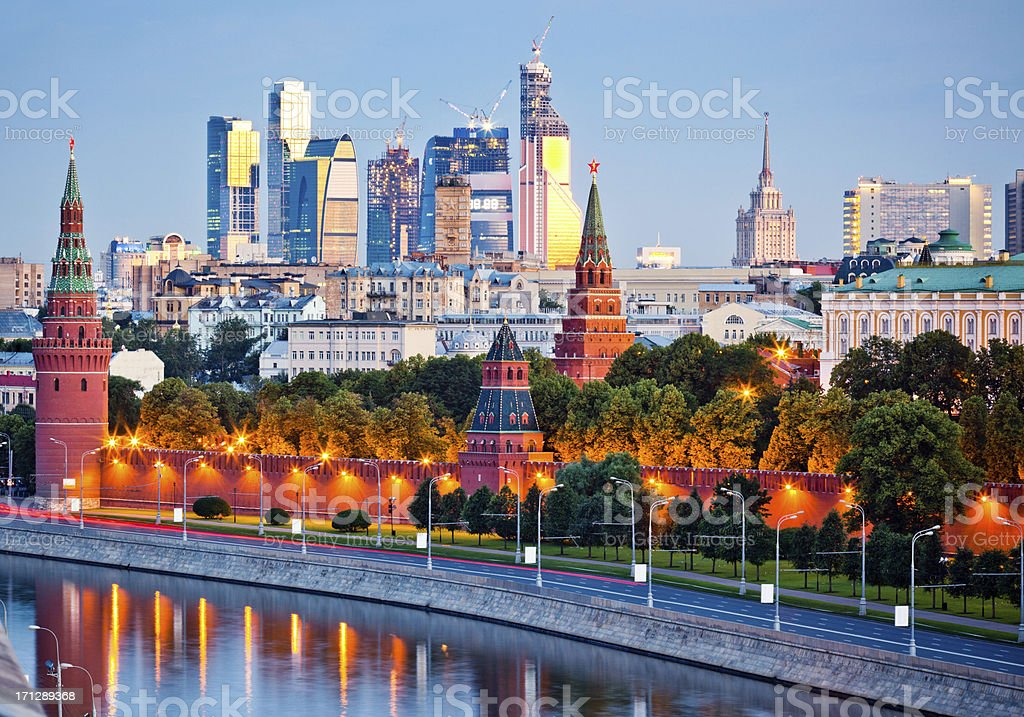 Kremlin wall and Moskva river in early morning stock photo