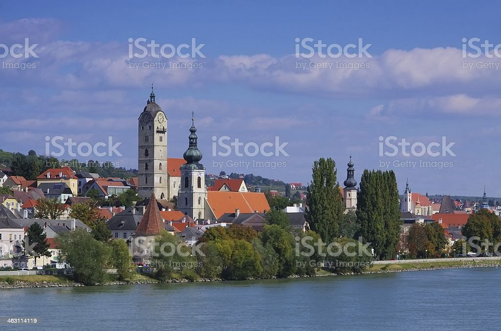 Krems and Stein on Danube stock photo