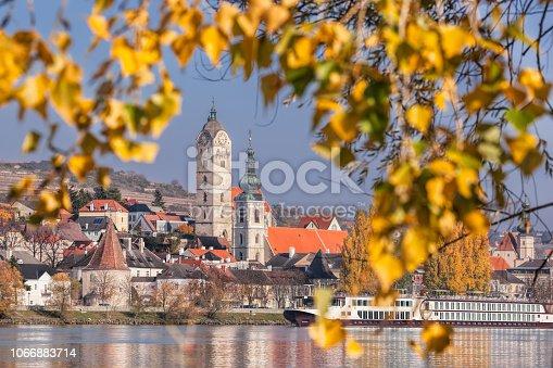 Krems town with Danube river during autumn in Wachau, Austria