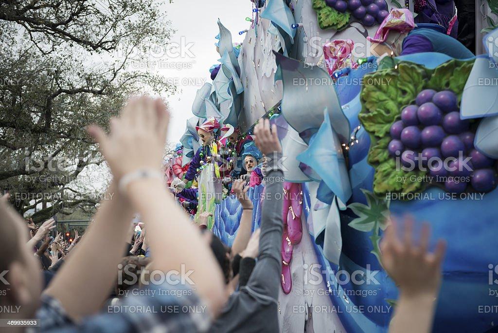 Krewe of Endymion Mardi Gras parade on Canal Street stock photo