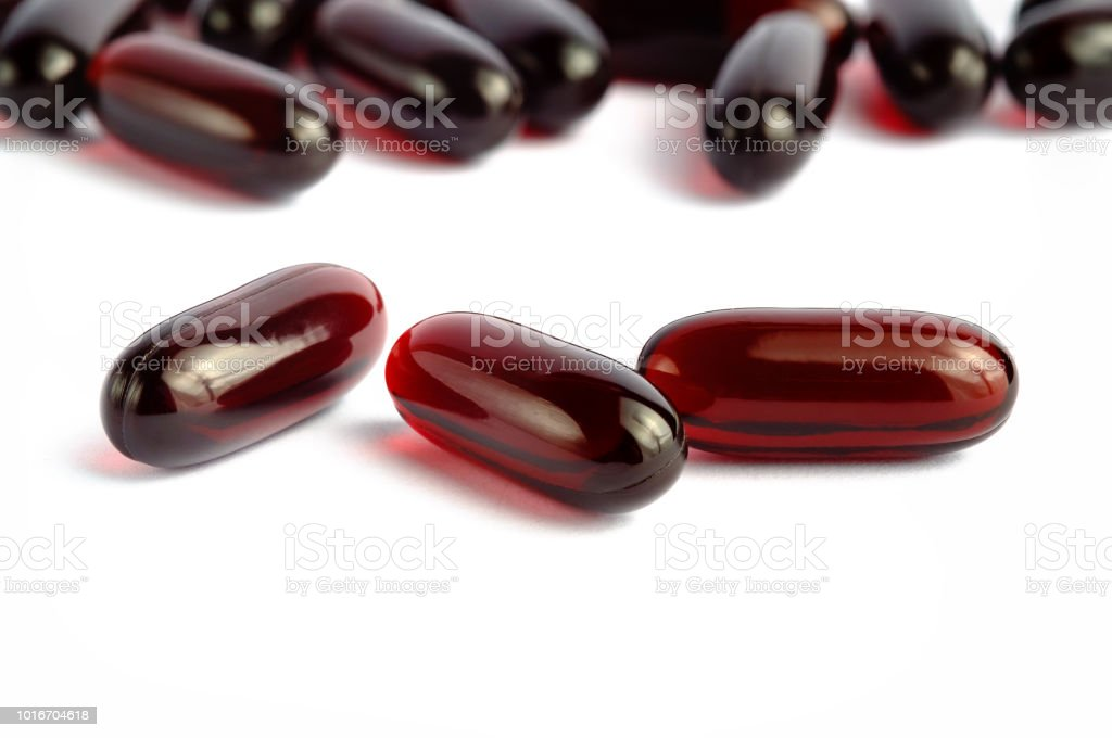 Krill oil omega 3 capsules stock photo