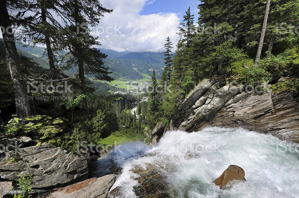 Krimml Waterfall in Austria stock photo