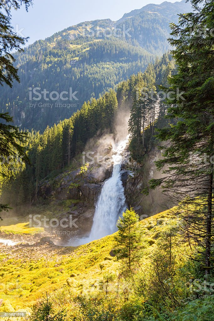 Krimml Waterfall is the highest waterfall in Austria. stock photo