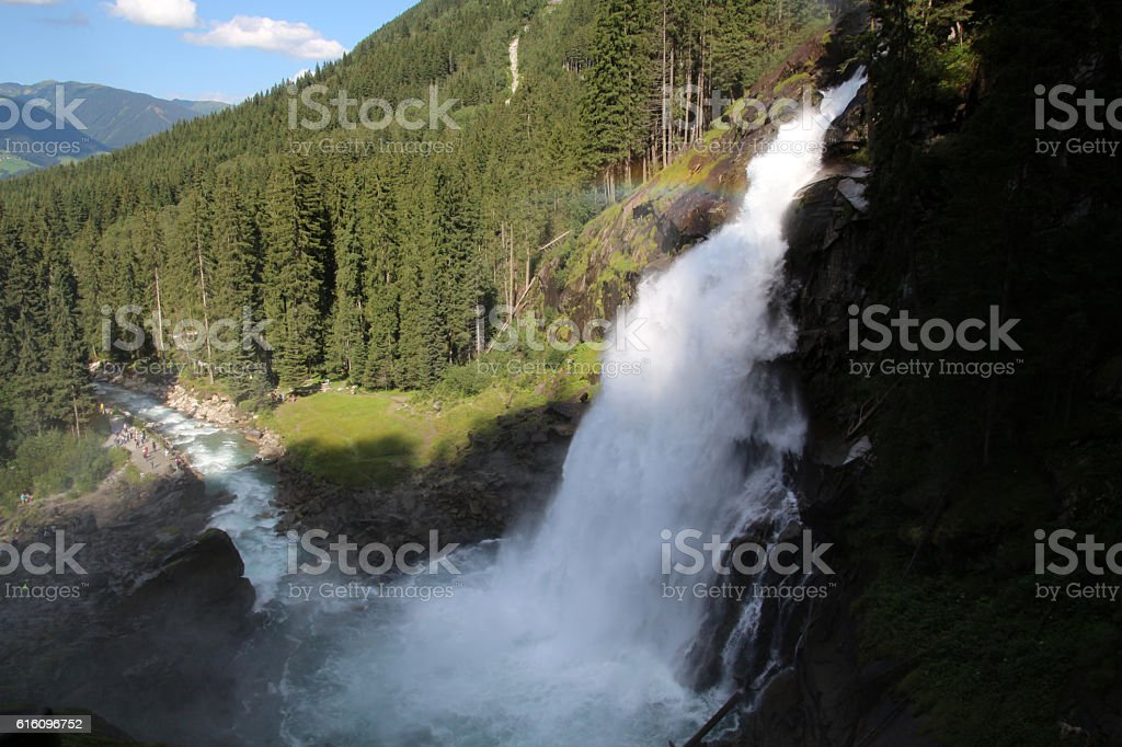 Krimmler Wasserfälle in den Alpen stock photo