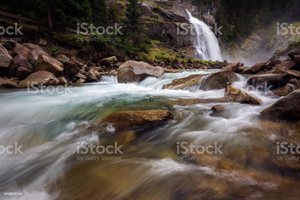 Krimmler waterfall in Austria stock photo