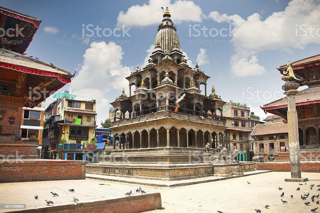 Krishna Mandir Temple, Durbar Square, Patan city. Nepal. stock photo