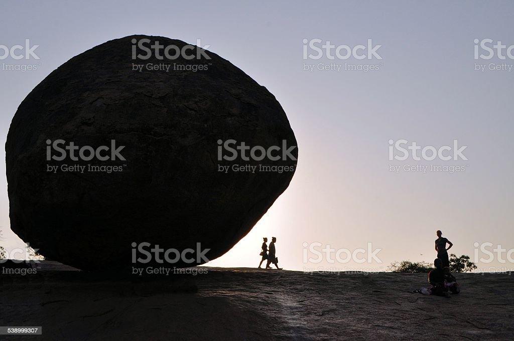 Krishna's butterball balancing giant rock, India stock photo