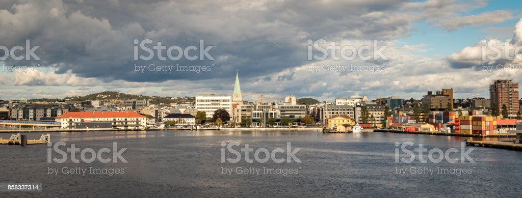Kristiansand seen from the sea, panorama. Norway stock photo