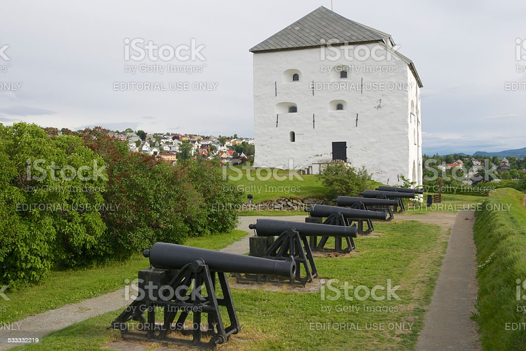 Kristiansten fortress donjon and cannons in Trondheim, Norway. stock photo
