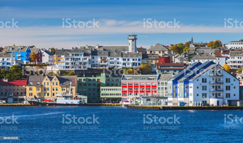 Kristiansund cityscape, Norwegian town stock photo