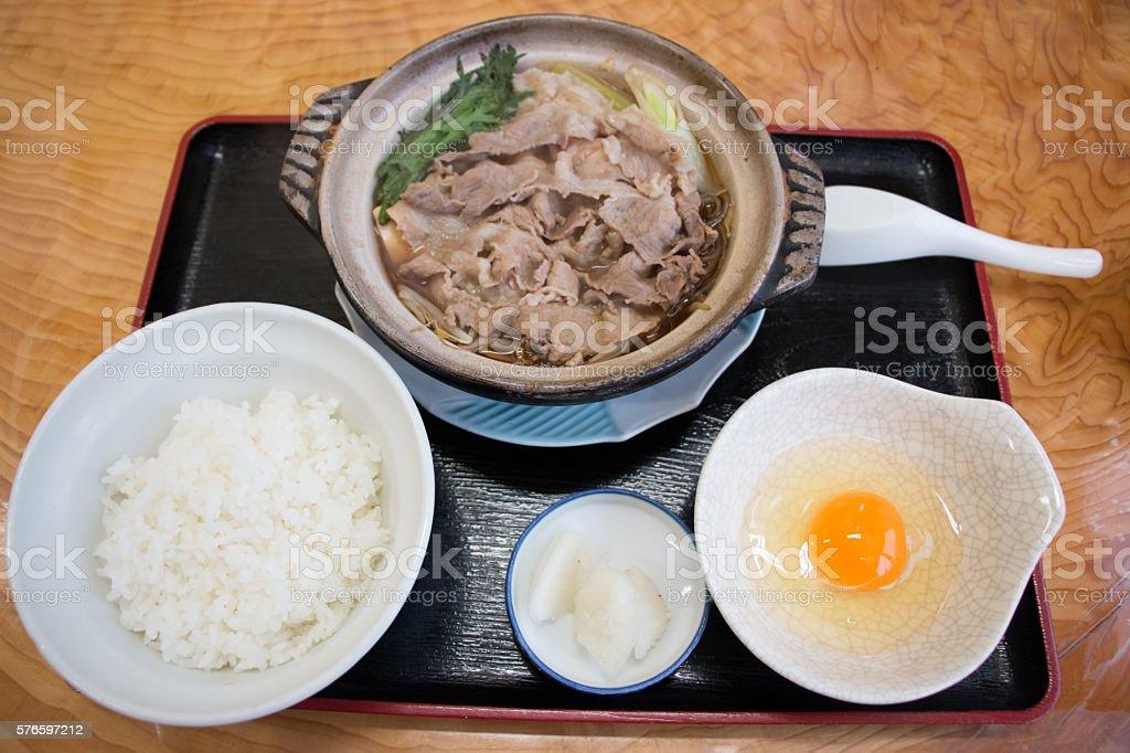 Kritanpo nabe set with pork hotpot, rice, and egg. stock photo