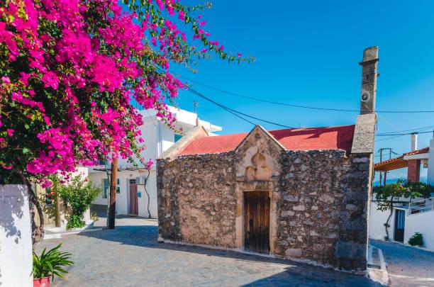 Kritsa traditional cretan village stock photo