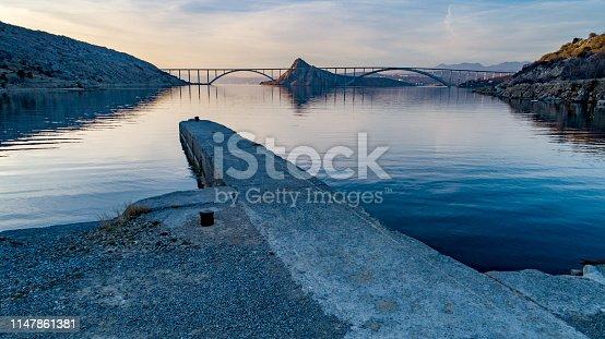 Krk Island Bridge at the Sunset
