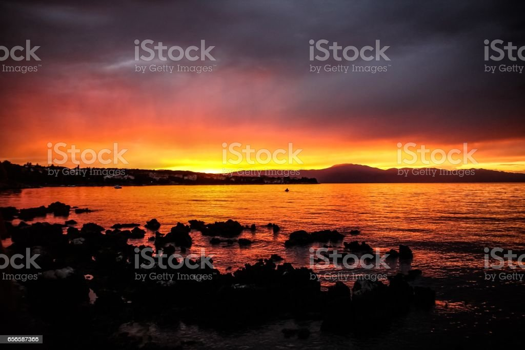 Krk Sunset after storm stock photo