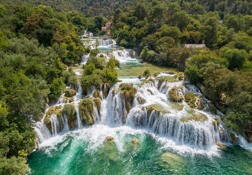 Aerial of the famous staircase waterfalls at the beautiful Krka National Park, Croatia. Converted from RAW.