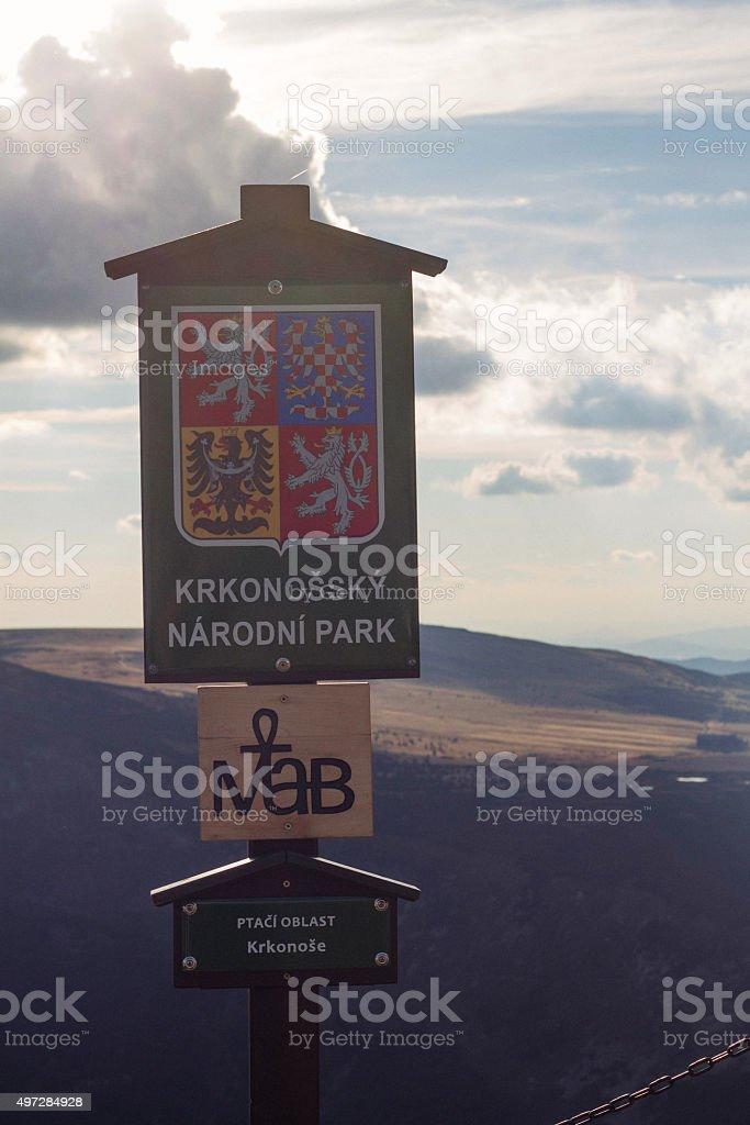 Krkonossky Narodni Park - boundary marker stock photo