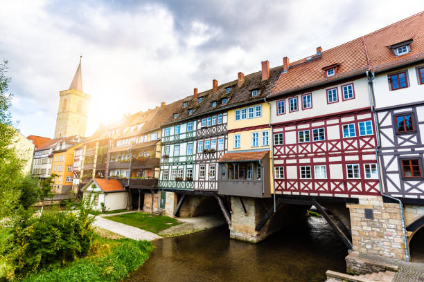 Krämerbridge in Erfurt stock photo