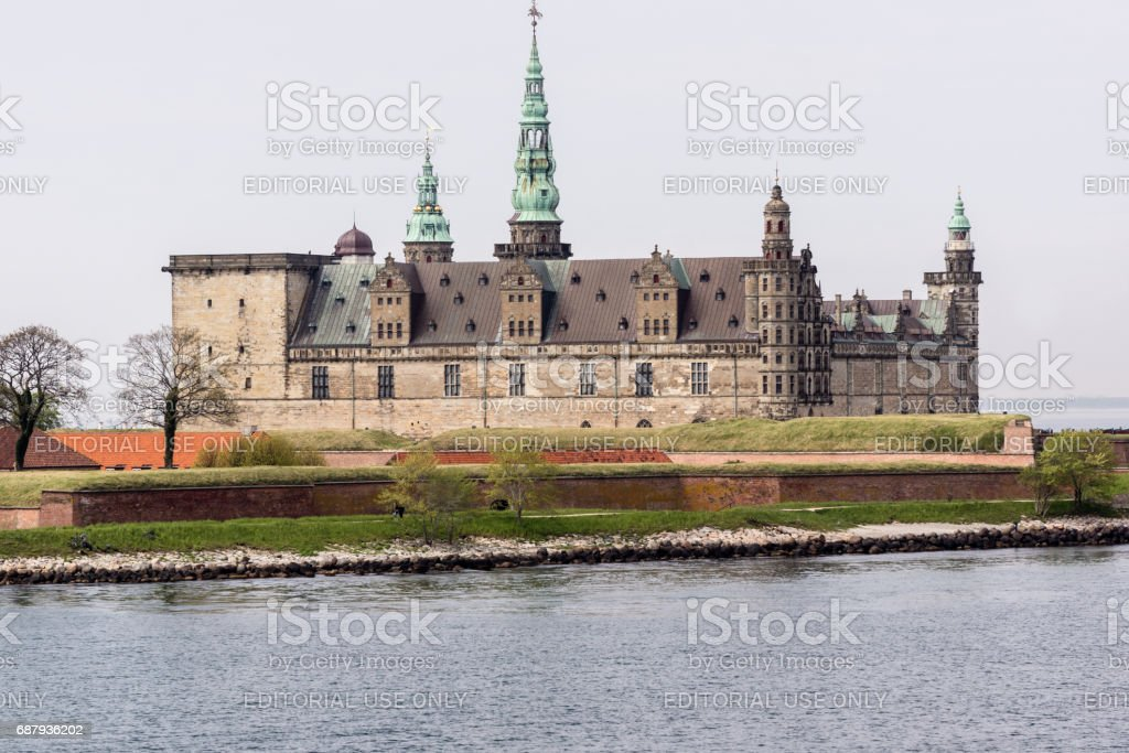 Kronborg castle in Elsinore, from the seaside stock photo