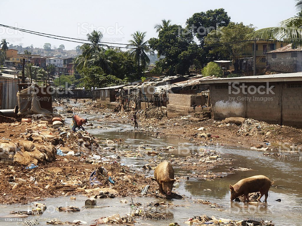 Kroo Bay Slum in Freetown, Sierra Leone royalty-free stock photo