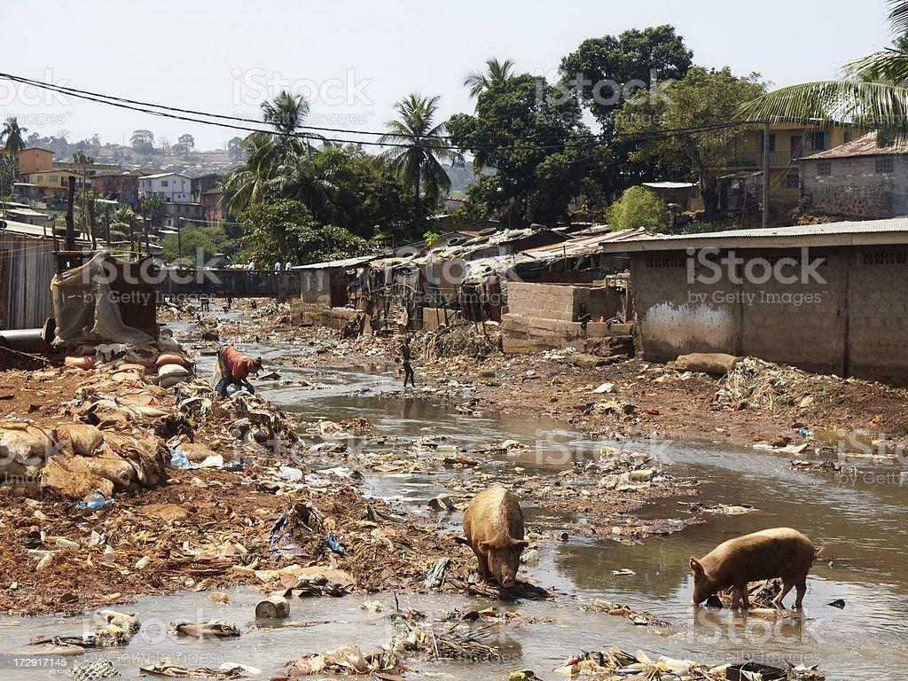 Kroo Bay Slum in Freetown, Sierra Leone stock photo