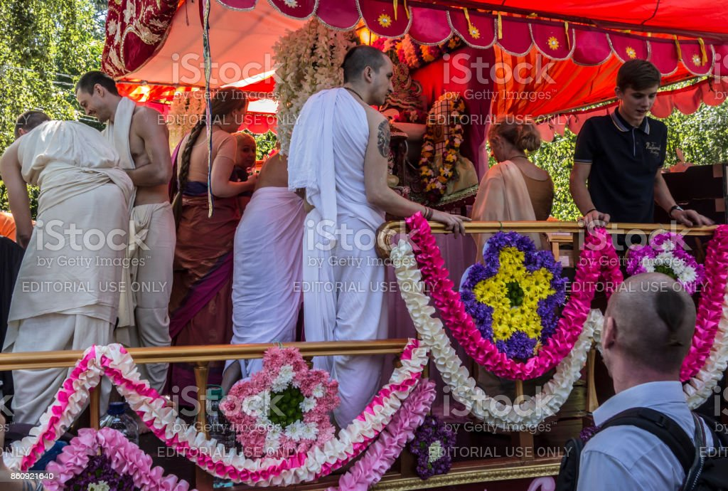 Krsna's devotees adorn the chariot stock photo