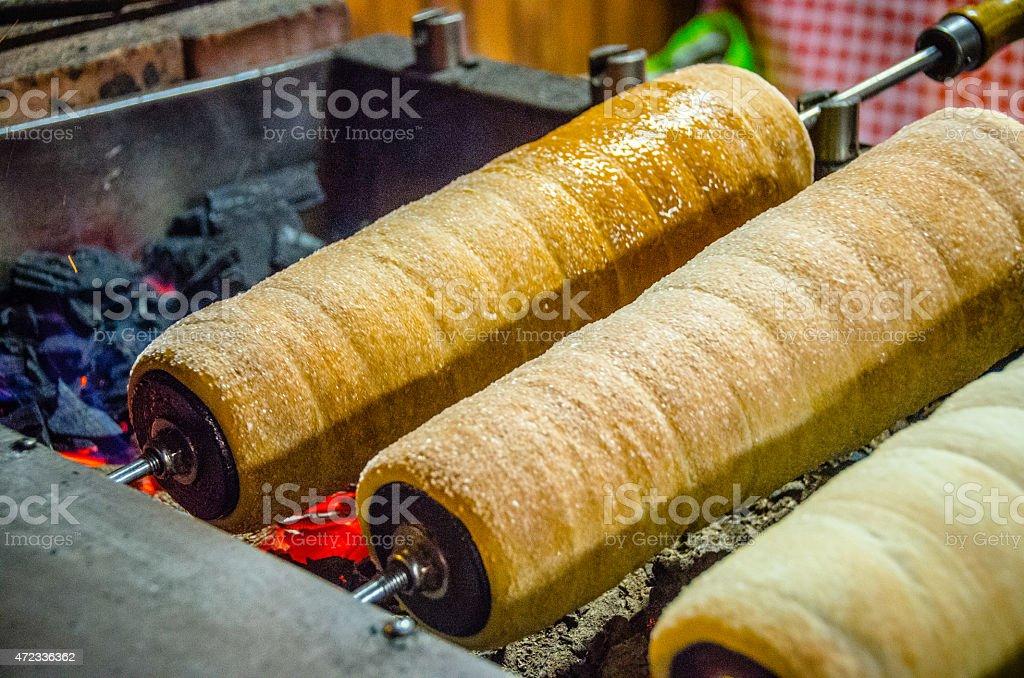 Kürtőskalács (Hungarian Chimney Cake) stock photo