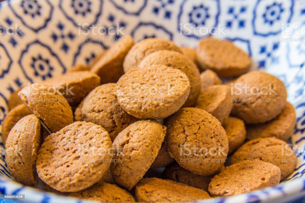 kruidnoten dutch confectionary closeup stock photo
