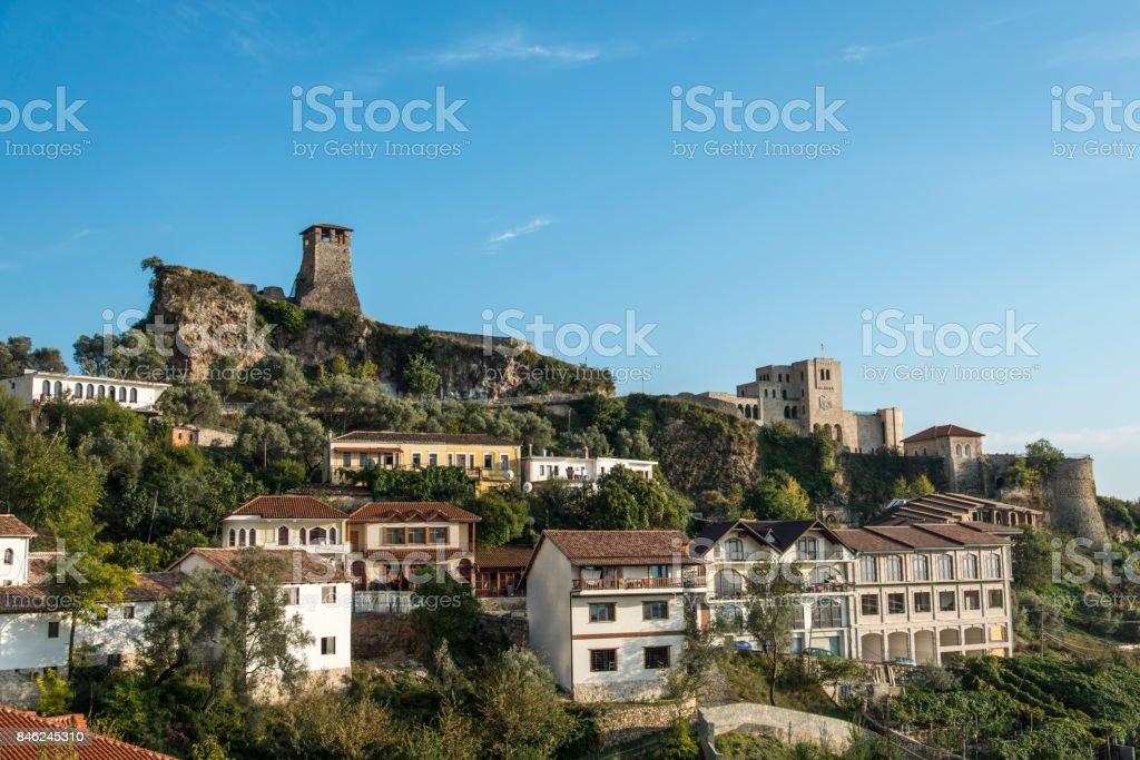 Kruja Skanderbeg Castle in Kruja, Albania stock photo
