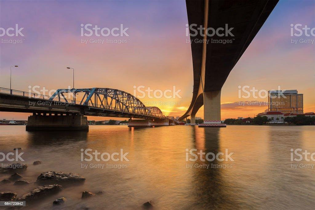 Krungthep Bridge construction with steel. stock photo