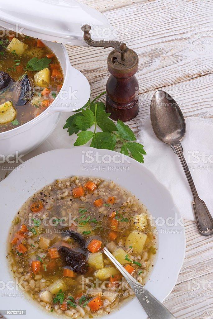 "Krupnik -€"" Polish Pearl Barley Soup royalty-free stock photo"