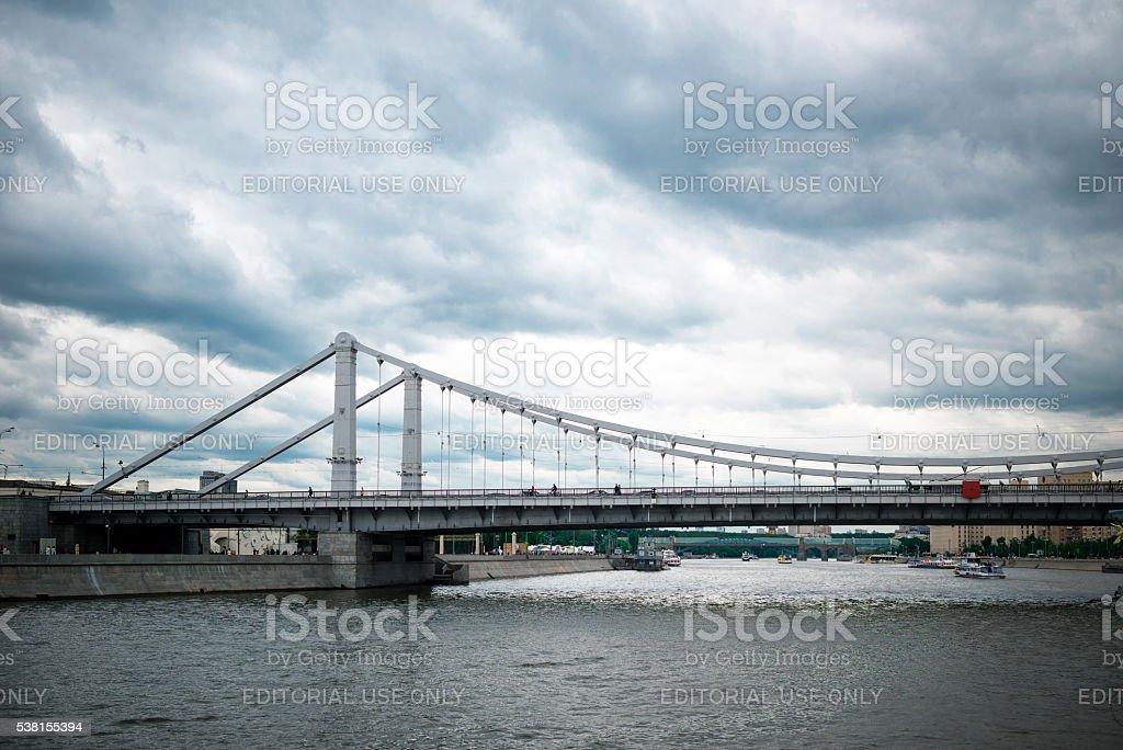 Krymsky and Andreevsky bridges stock photo