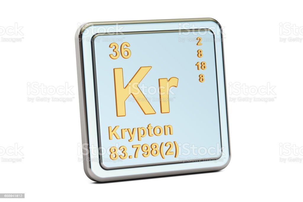 Krypton Kr Chemical Element Sign 3d Rendering Isolated On White