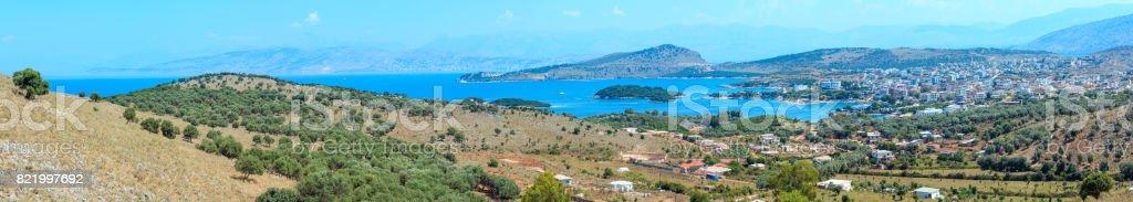Ksamil town coast, Albania. stock photo