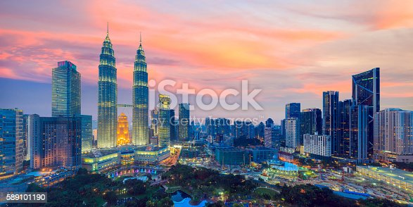 Top view of Kuala Lumper skyline at twilight